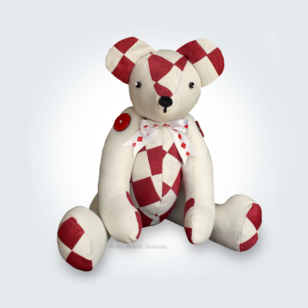 "Patchwork Teddy Memory Bear 14"" Fabric Sewing PATTERN Unique Design ..."