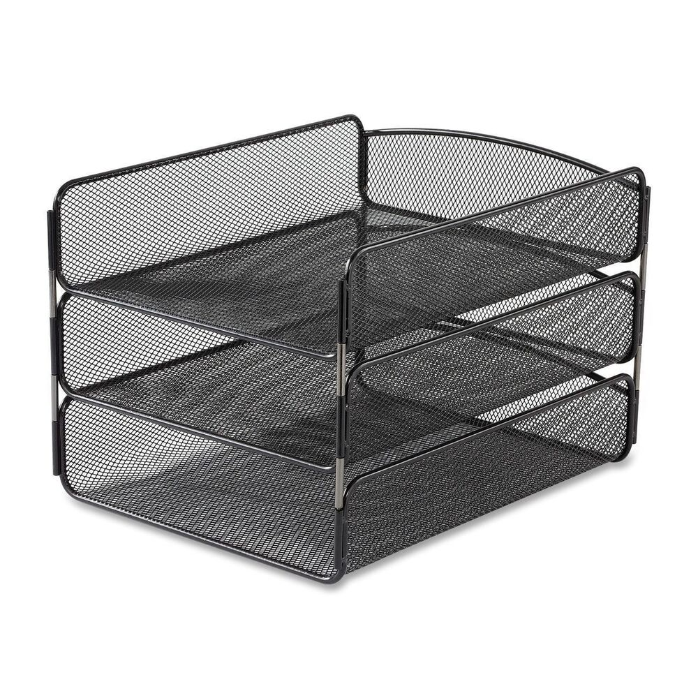 Safco products onyx mesh desk organizer triple tray - Black mesh desk organizer ...