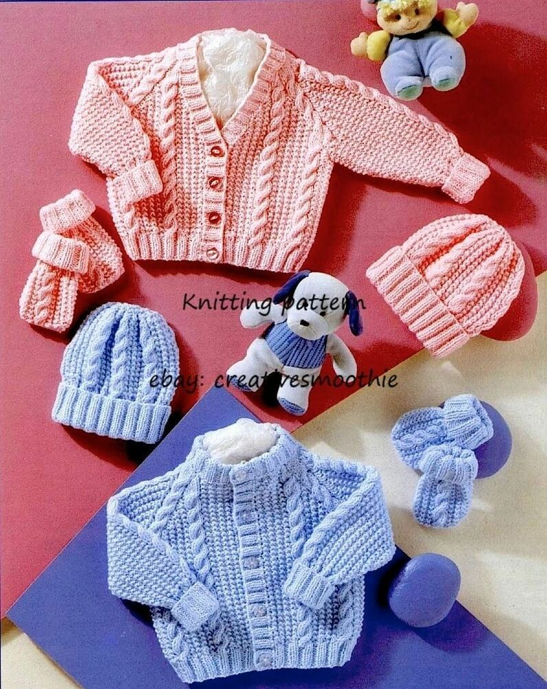 (298) DK Knitting Pattern Baby Boy Girl Cable Cardigans ...