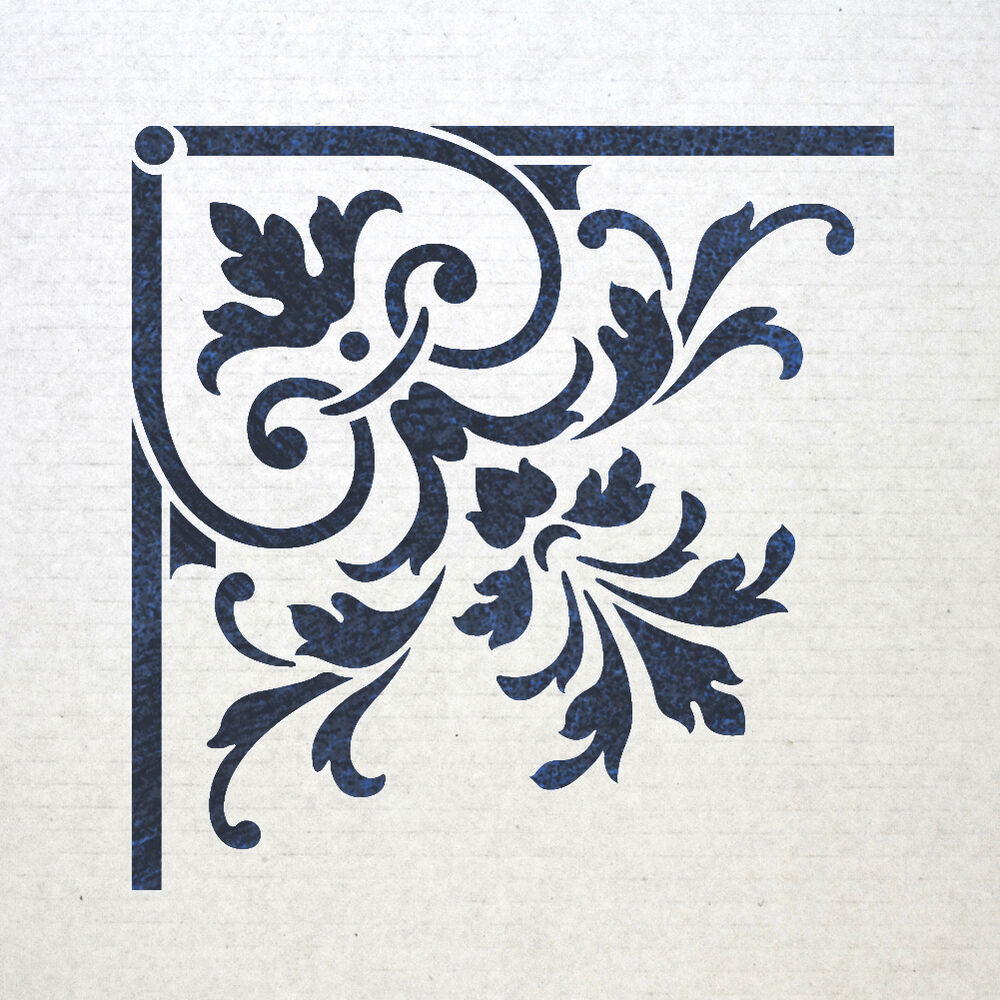 Corner stencil reusable template 025 for wall diy decor ebay for Wall art templates free