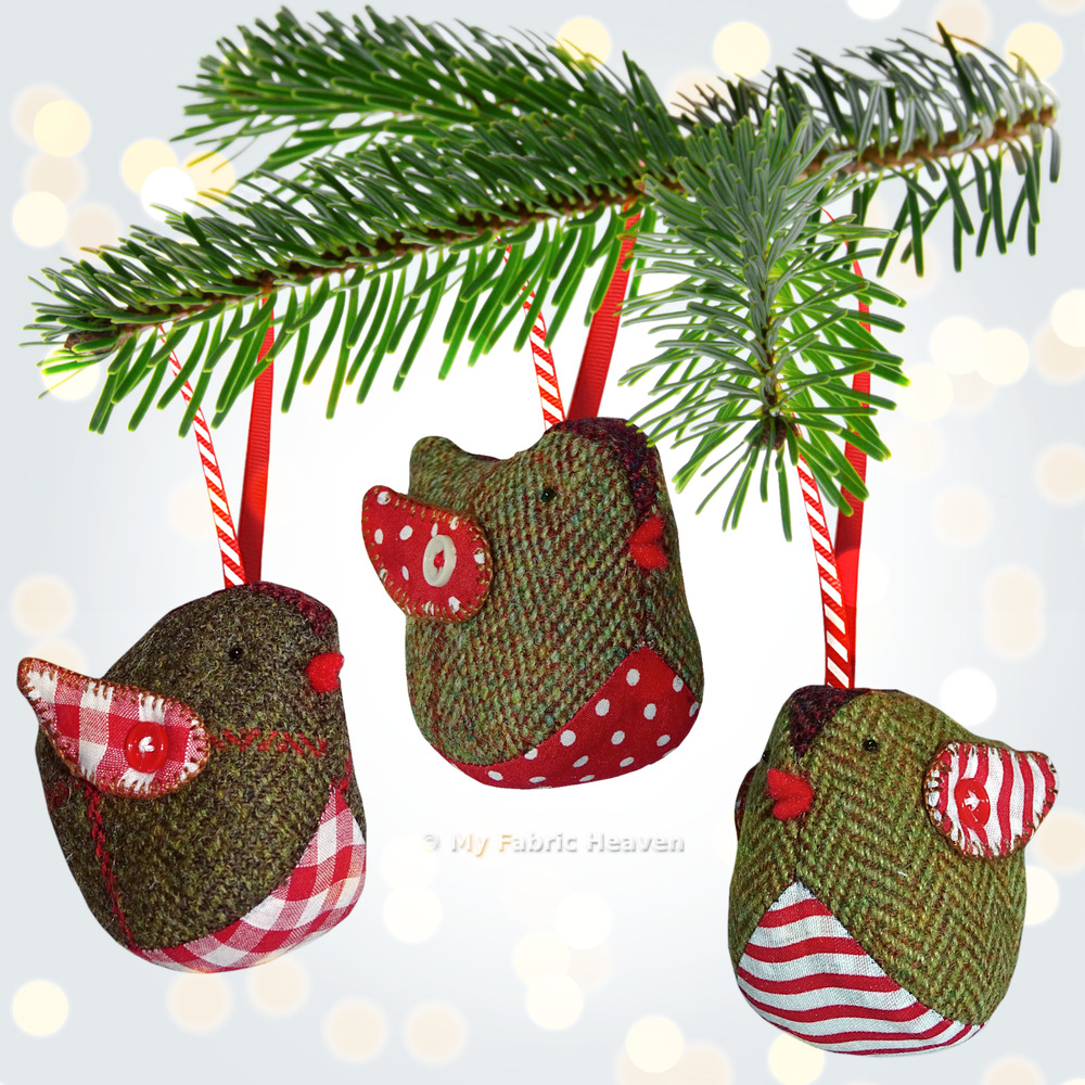 Tweedy pie robin christmas decoration fabric sewing for Simple christmas decorations to make