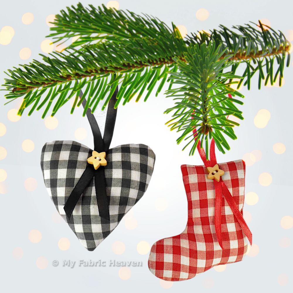Sewing PATTERN 6 X FABRIC Christmas Tree Decorations