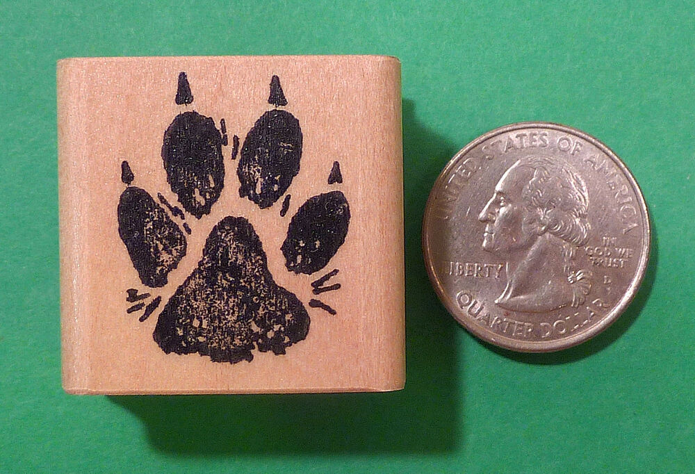 Dog paw print rubber stamp regular size wood mounted ebay for Custom craft rubber stamps