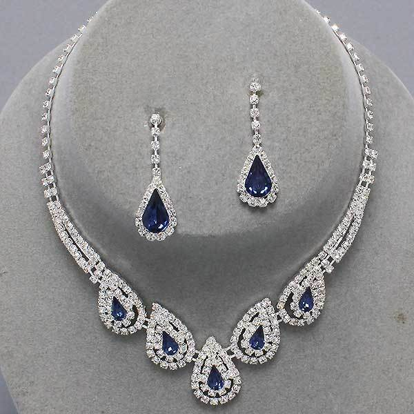 Formal Wedding Evening Party Sapphire Blue Crystal