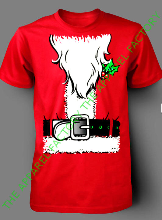 New santa claus costume red t shirt outfit funny ugly for Tacky t shirt ideas