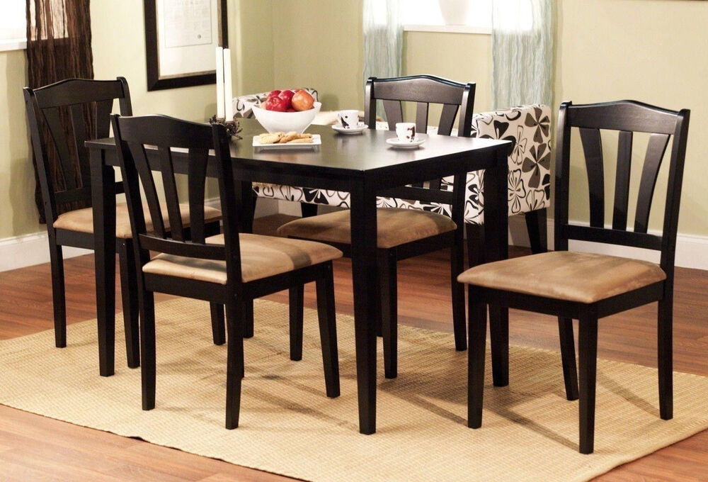 5 piece dining set wood breakfast furniture 4 chairs and for Dinner table set for 4
