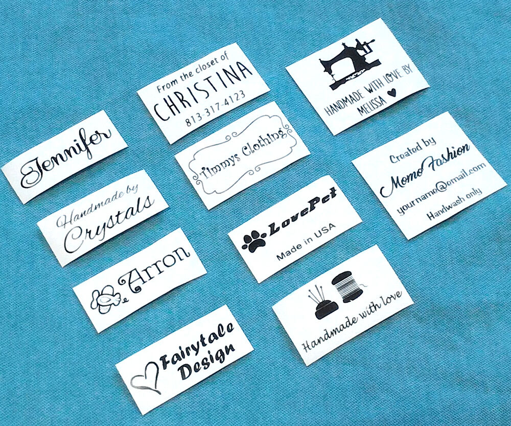 Clothing Tags: 50x Custom Iron On Name Tag Clothing Label Garment School