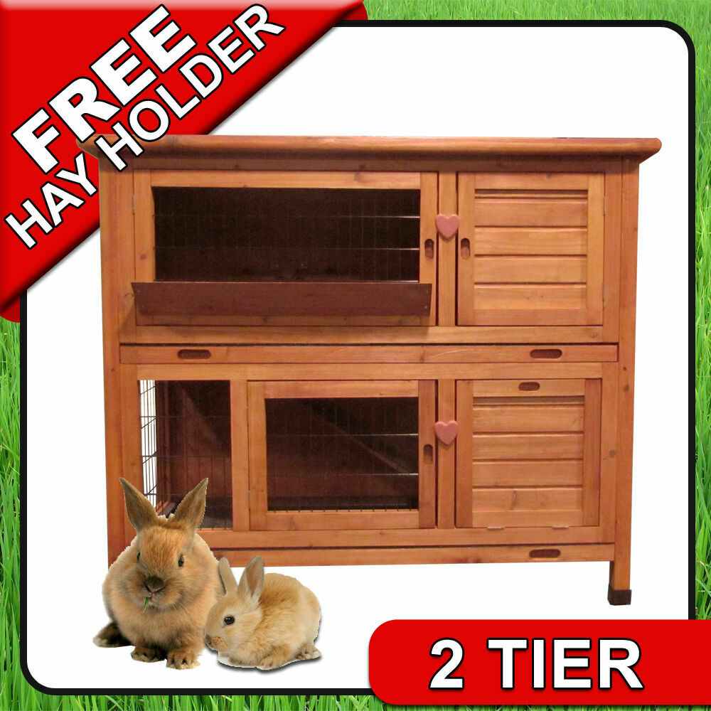 4ft large double rabbit hutch deluxe pet hutches cage. Black Bedroom Furniture Sets. Home Design Ideas