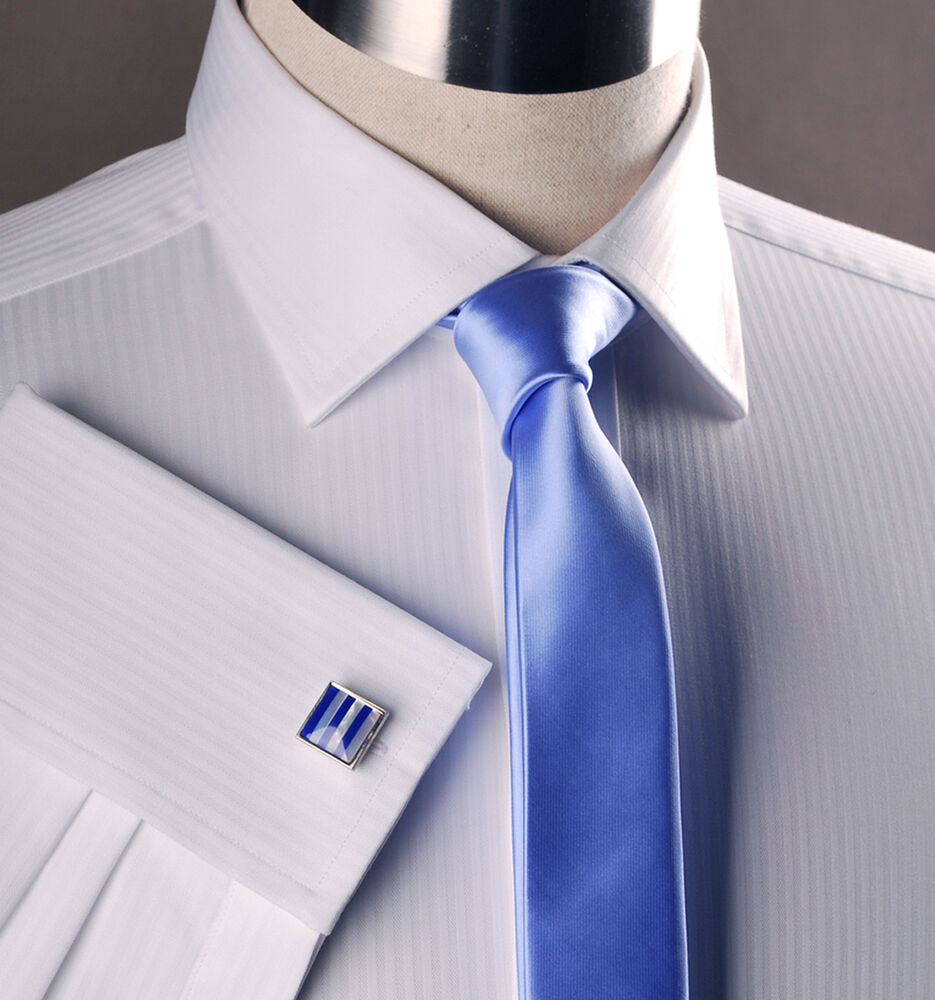 White twill boss stripe business shirt easy iron wrinkle for How do wrinkle free shirts work
