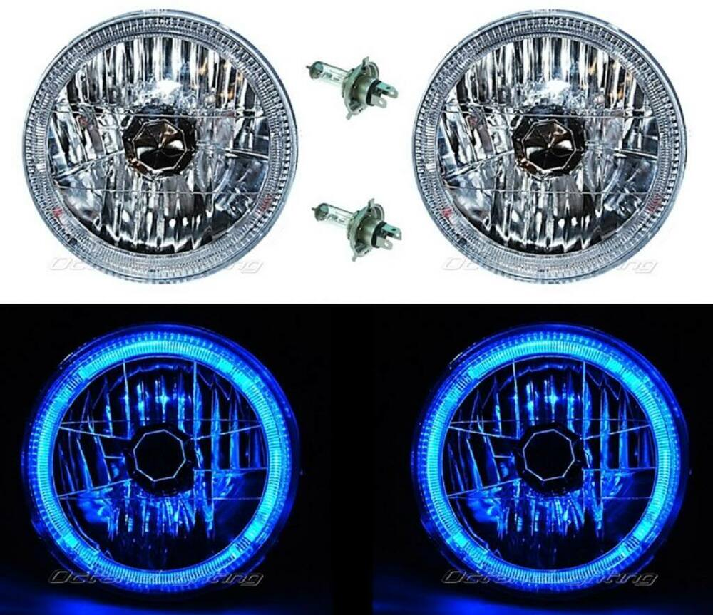 7 halogen led blue halo angel eyes headlight headlamp h4 light bulbs pair ebay. Black Bedroom Furniture Sets. Home Design Ideas