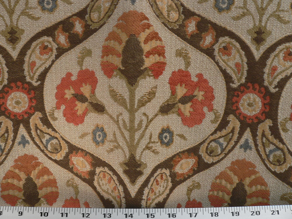 Drapery upholstery fabric traditional floral paisley for Floral upholstery fabric