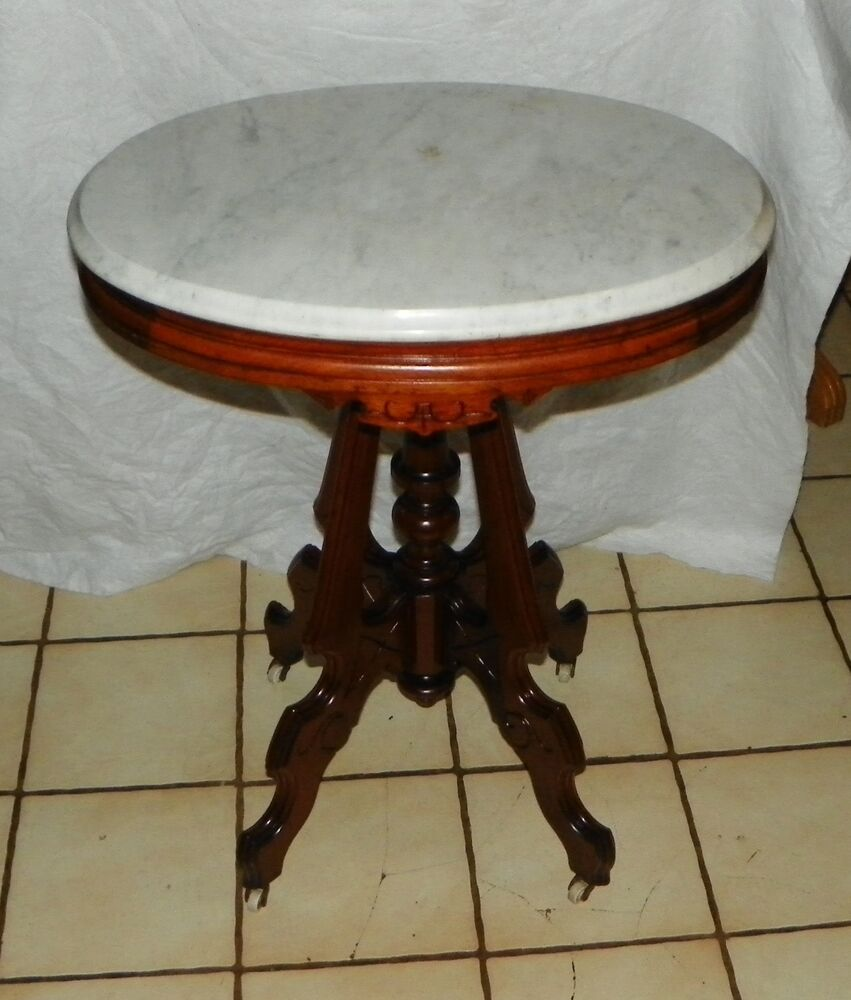 Walnut Carved Oval Marble Top Parlor Table T430 Ebay