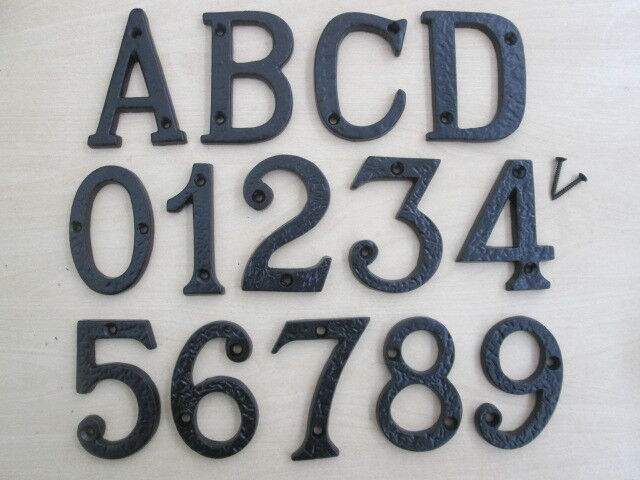 3 black antique cast iron house door numbers numerals letters ebay