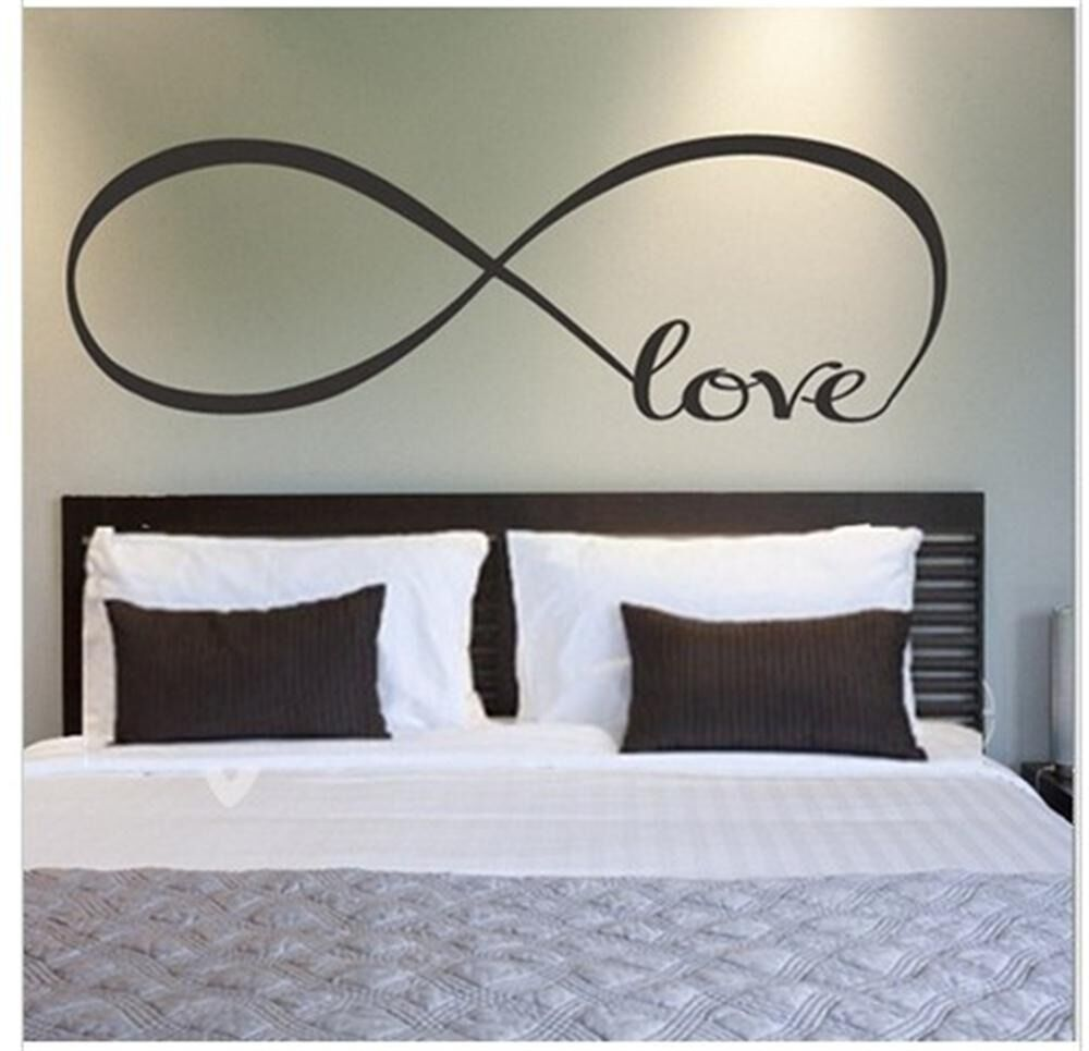 Color love infinity wall decal lettering words vinyl quote for Bedroom 5 letter words