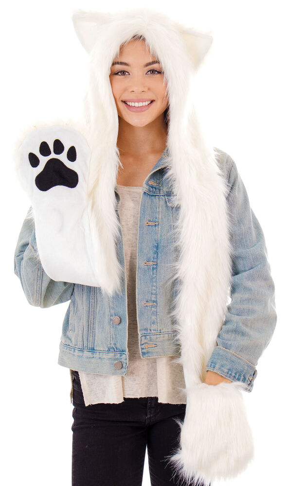 cartoon animal hat polar bear winter warm fluffy hooded. Black Bedroom Furniture Sets. Home Design Ideas