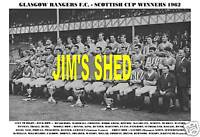 GLASGOW RANGERS F.C.TEAM PRINT 1962 (SCOTTISH CUP WIN)