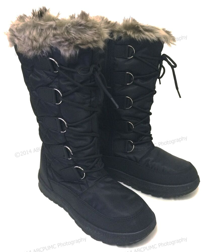 s winter boots snow fur warm insulated waterproof
