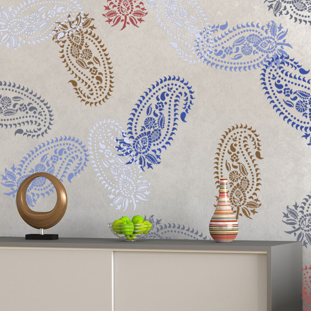 Vintage paisley stencil damask pattern for diy wall decor wallpaper look ebay - Design patterns wall painting ...