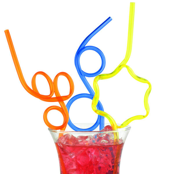 6 Pack Coloured Silly Straws Straw Party Cocktail Kids