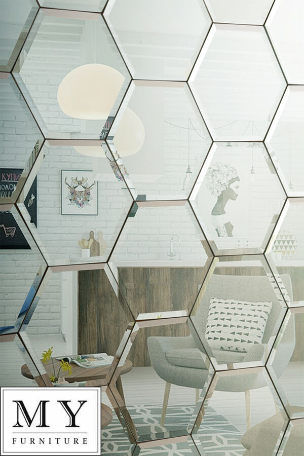 Hexagonal silver mirror bevelled wall tiles suitable for for Mirror tiles