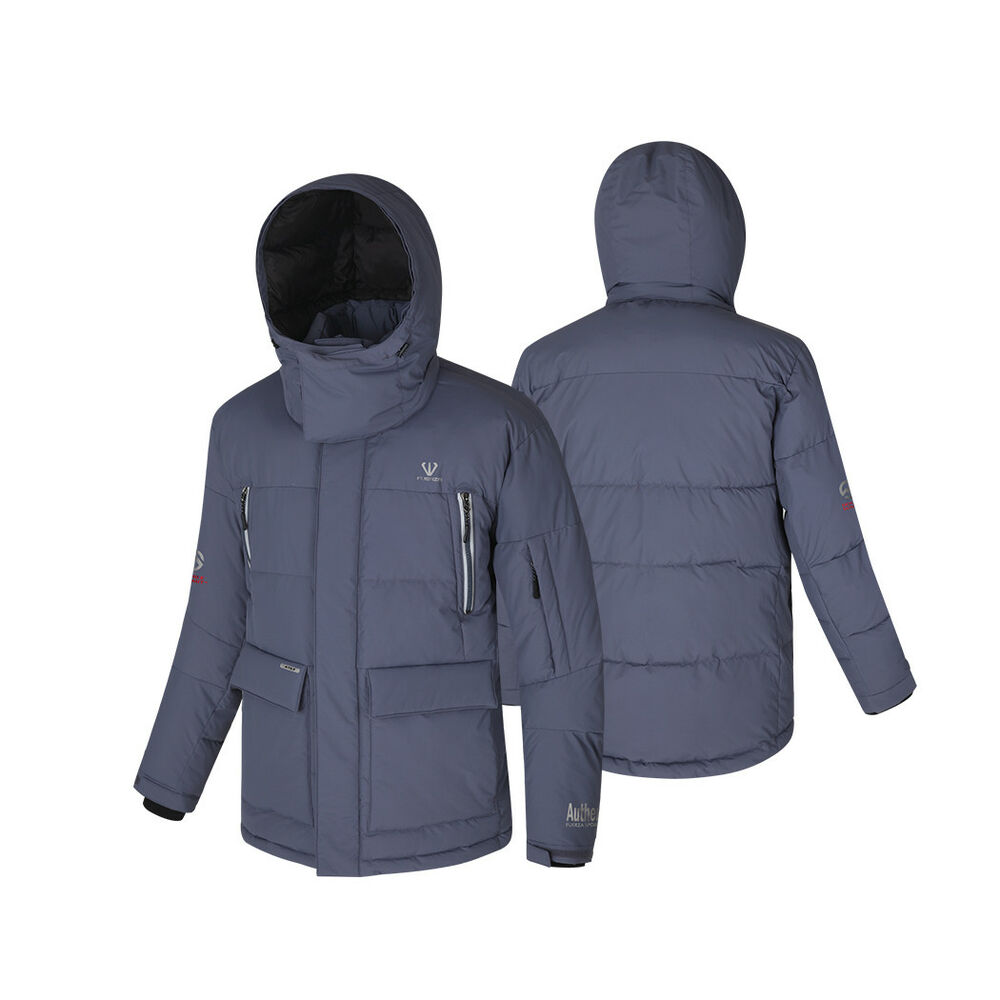 09ff352cf23 Details about FUERZA Mens Winter Animal-Free Down Wellon Filled Hooded  Parka Jacket Coat Gray