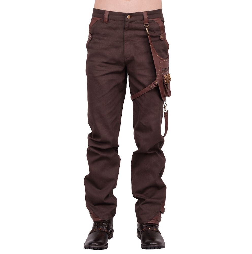 vintage goth steampunk hose herren braun gens trousers pants brown men vg16393 ebay. Black Bedroom Furniture Sets. Home Design Ideas