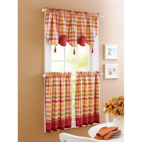 Country Red Kitchen Curtains: Red Green Yellow Tan COUNTRY PLAID Kitchen Curtains VALANCE OR TIERS SET