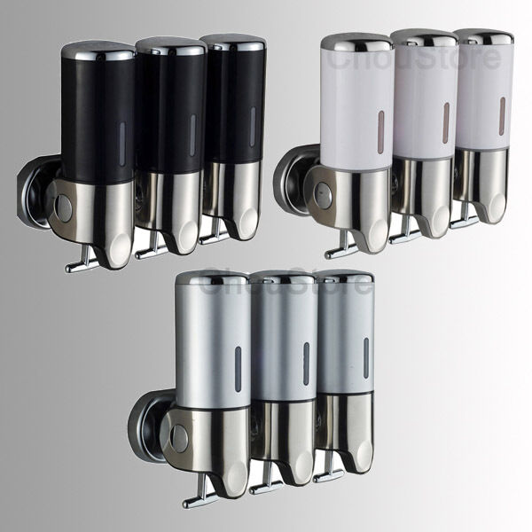 Bathroom triple shower gel dispenser body lotion shampoo for Liquid soap dispenser for bathroom