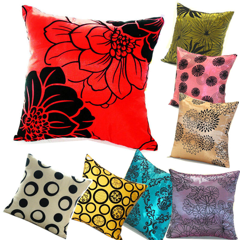 Throw Pillows For A Floral Couch : Square Bed Flower Car Silk Pillow Throw Case Cushion Cover Decorative Sofa Couch eBay