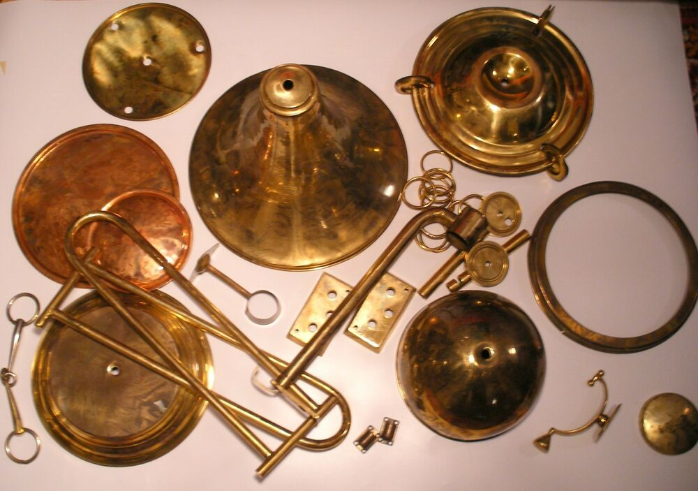 Old Vintage Different Brass Lamp Parts Holder Finial And