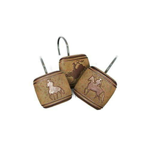 Western Cowboy Horse Bathroom Shower Curtain Hooks New | eBay