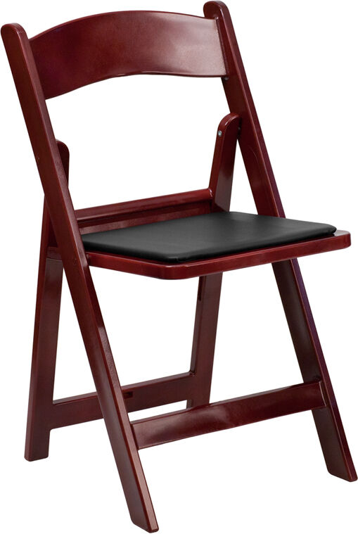 50 Pack Mahogany Resin Folding Chair Black Vinyl Padded