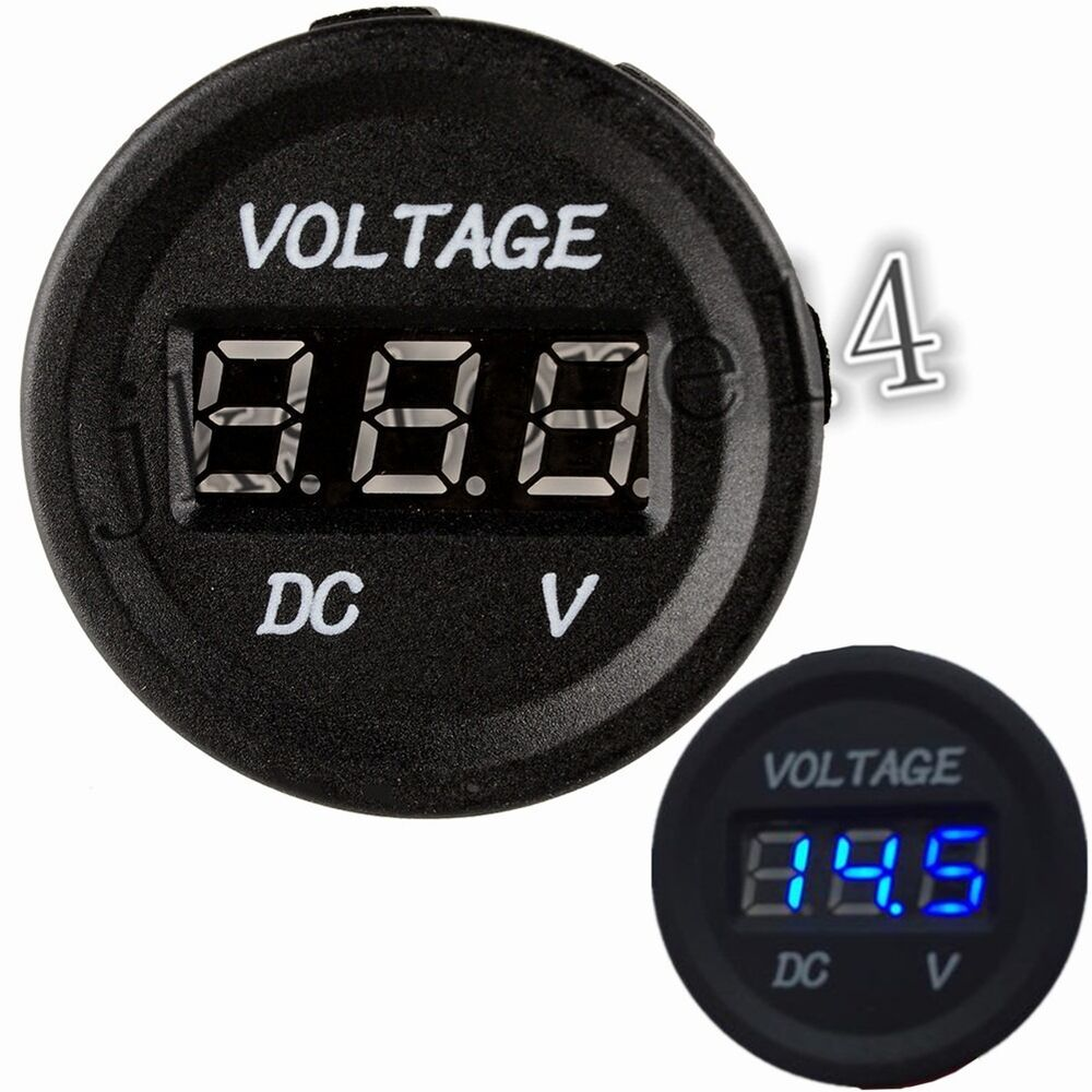 12 Volt Panel Meter : Volt car boat blue led digital display panel voltmeter