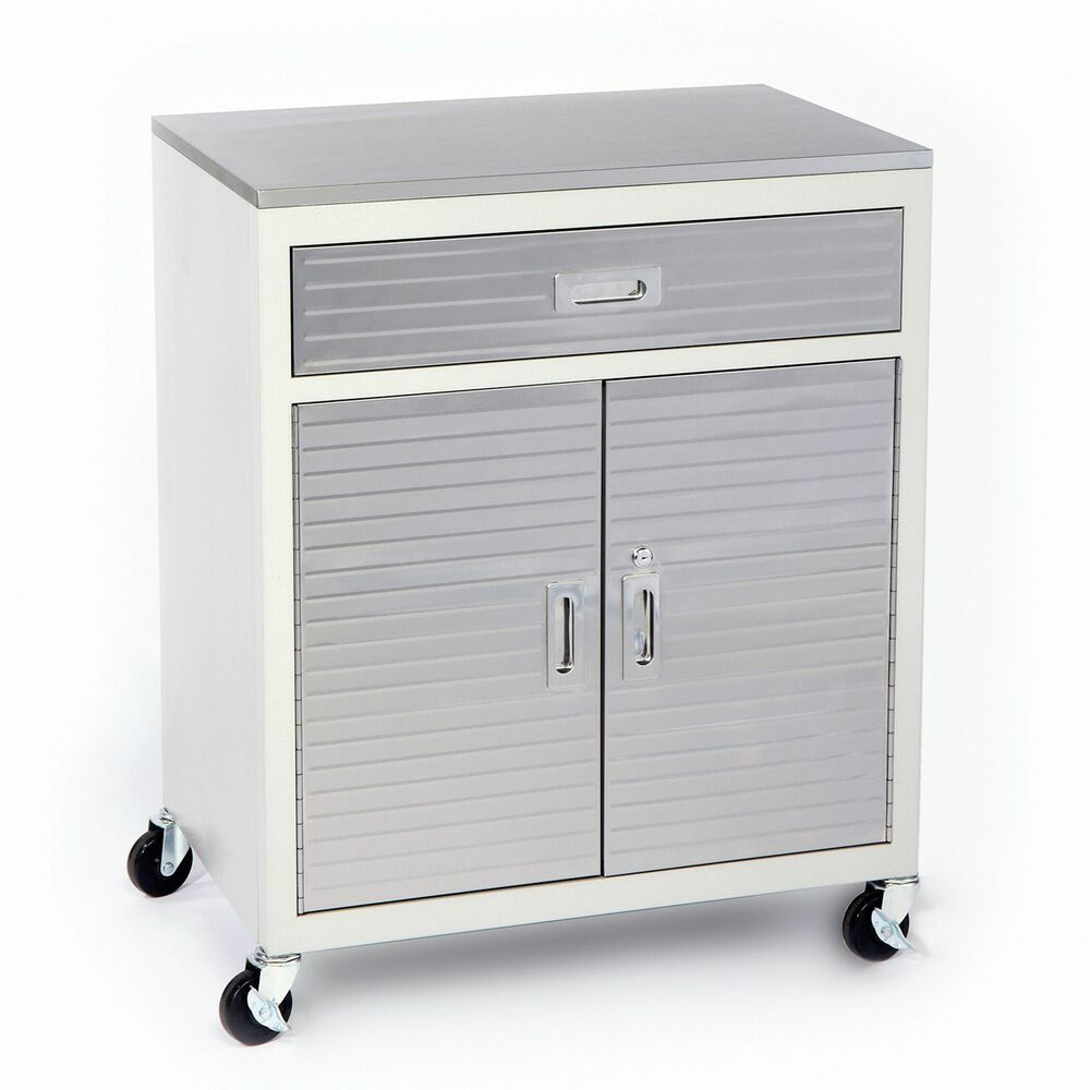 Garage metal one drawer storage tool box cabinet stainless for Cupboard and drawers