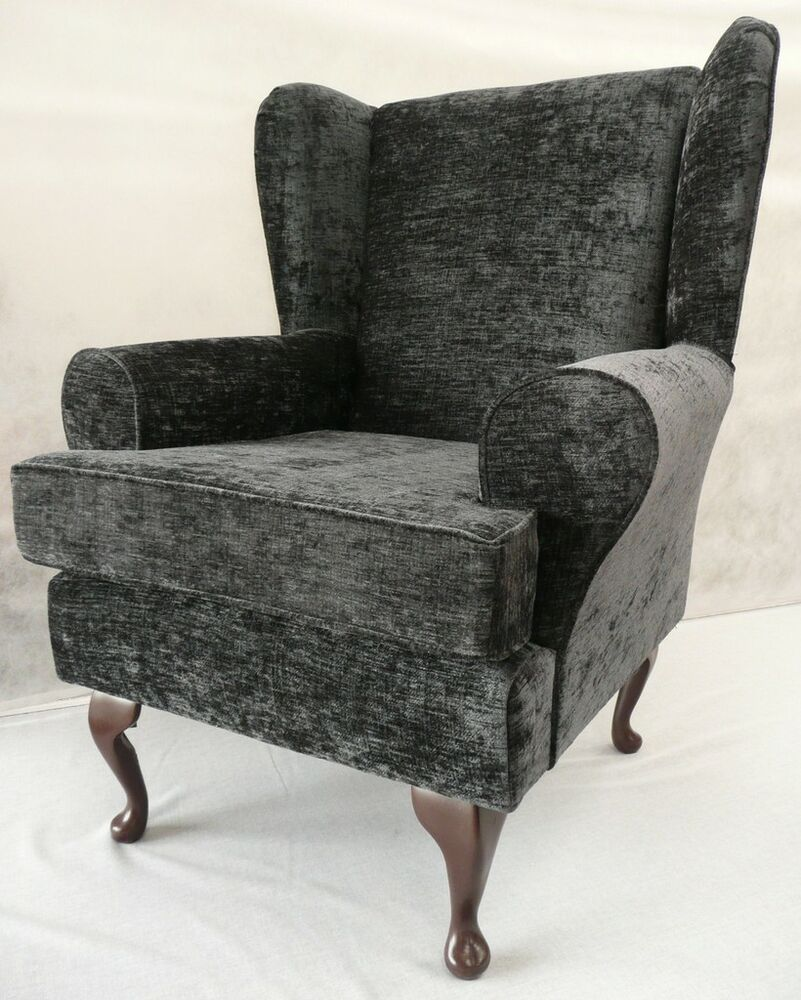 FIRESIDE CHAIR ARMCHAIR WING CHAIR GREY CHENILLE FABRIC EBay