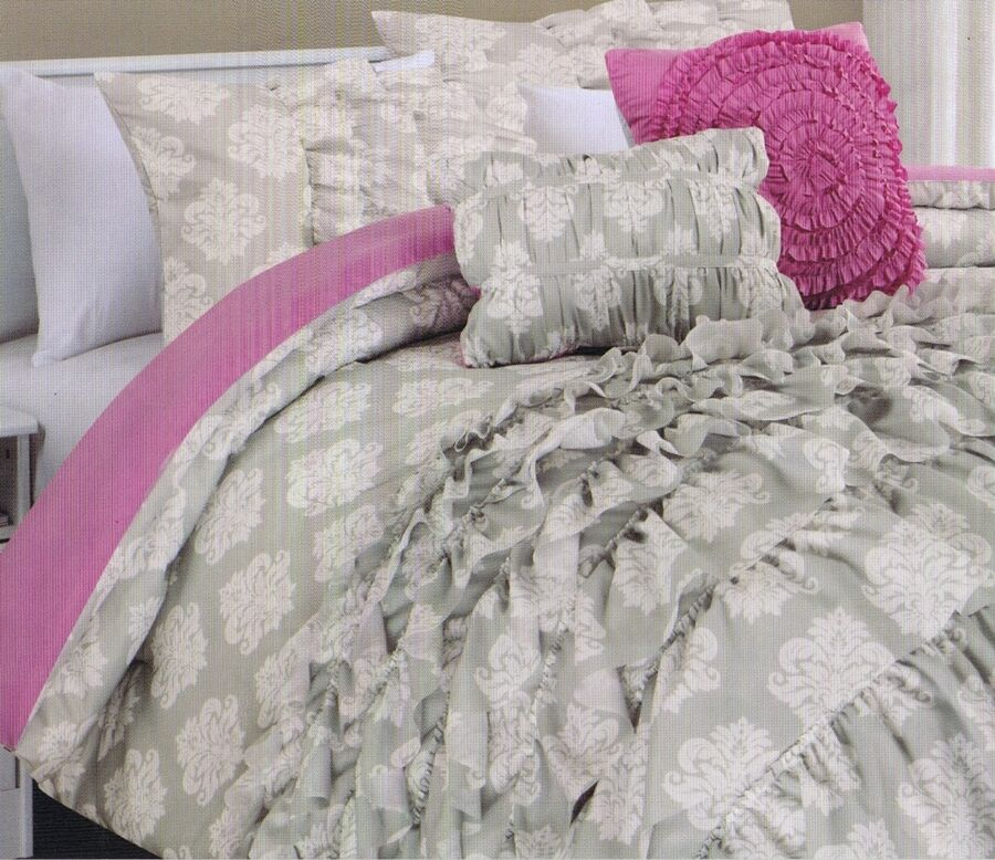 Cynthia Rowley 2 PC Twin XL Duvet Set Damask Pink Grey