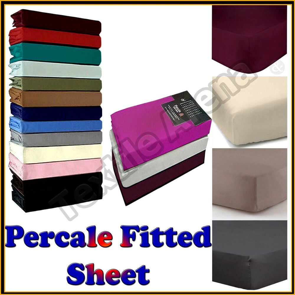 percale fitted sheet 180 thread count non iron single double king s king size ebay. Black Bedroom Furniture Sets. Home Design Ideas