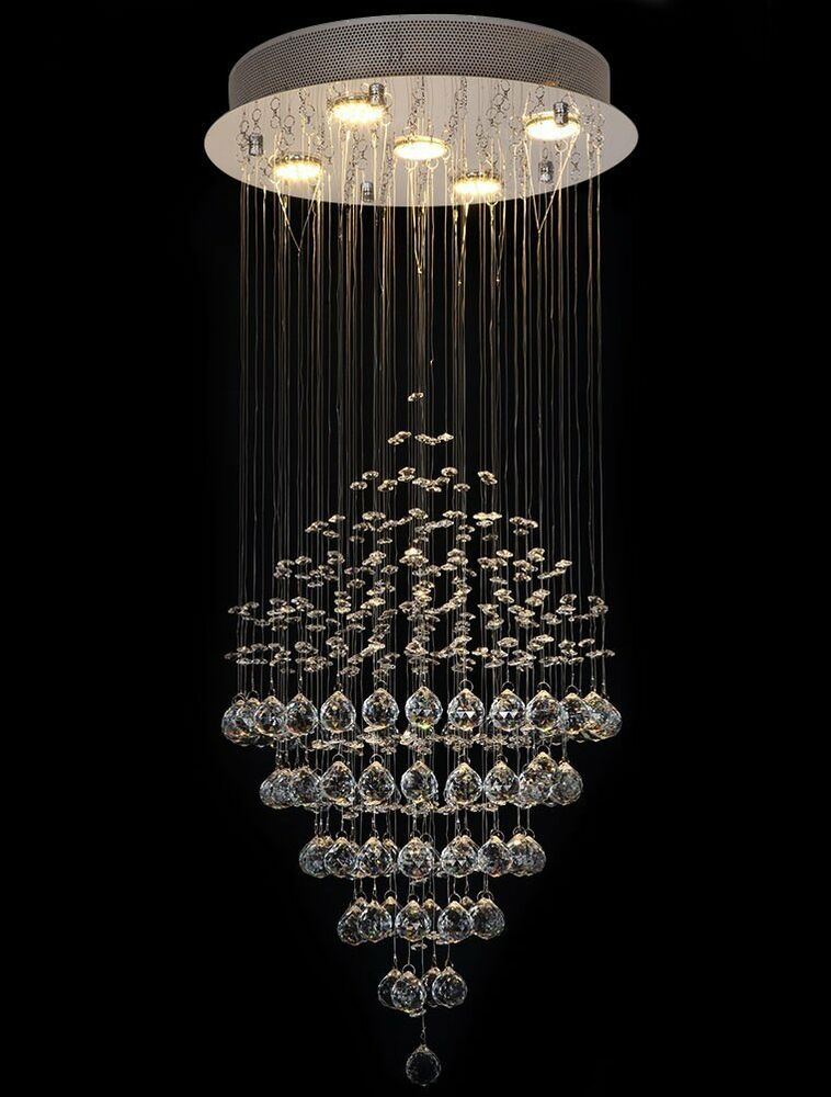 crystal glass diamond rain drop 5 light ceiling fixtures chandelier ebay. Black Bedroom Furniture Sets. Home Design Ideas