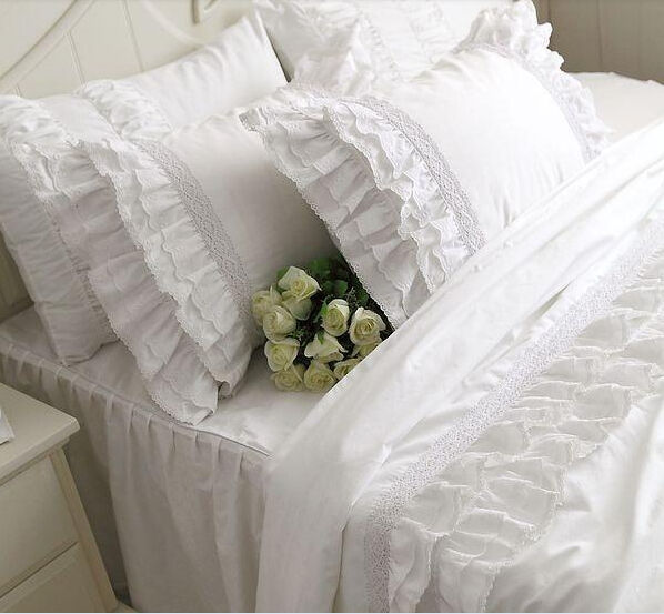 White embroidery lace ruffle duvet cover bedding set201430 ebay