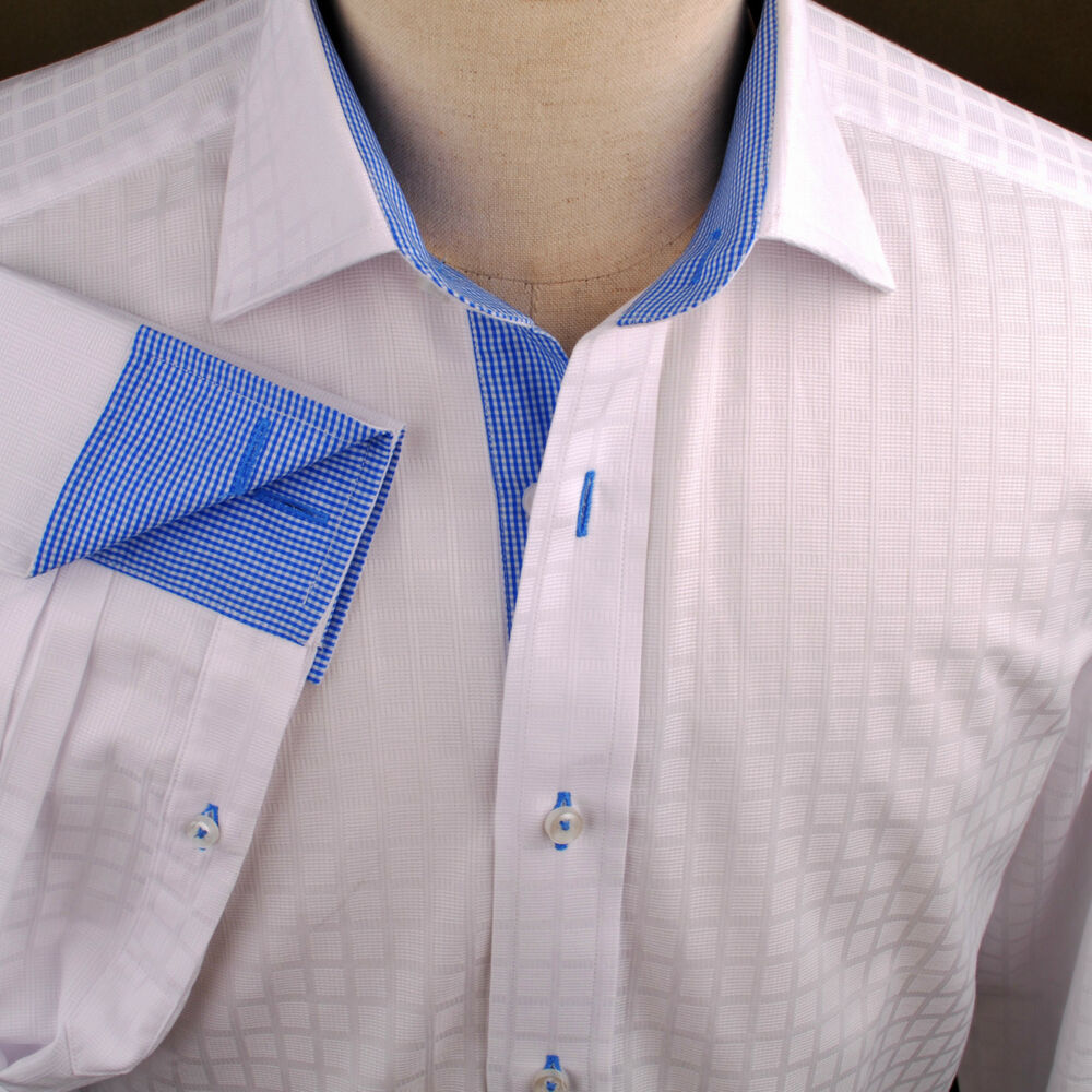 White Faded Checkered Formal Business Dress Shirt Blue