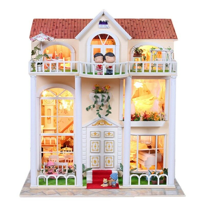 Kits Dream Large Diy Wood Dollhouse Miniature With