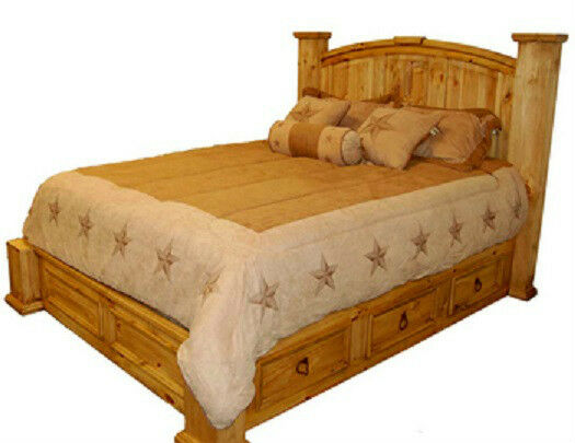 King Size Under Storage Bed Real Solid Wood Western Rustic