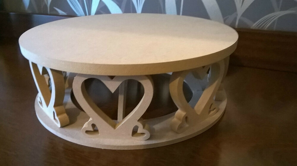 cake stand circular or square with heart decoration craft