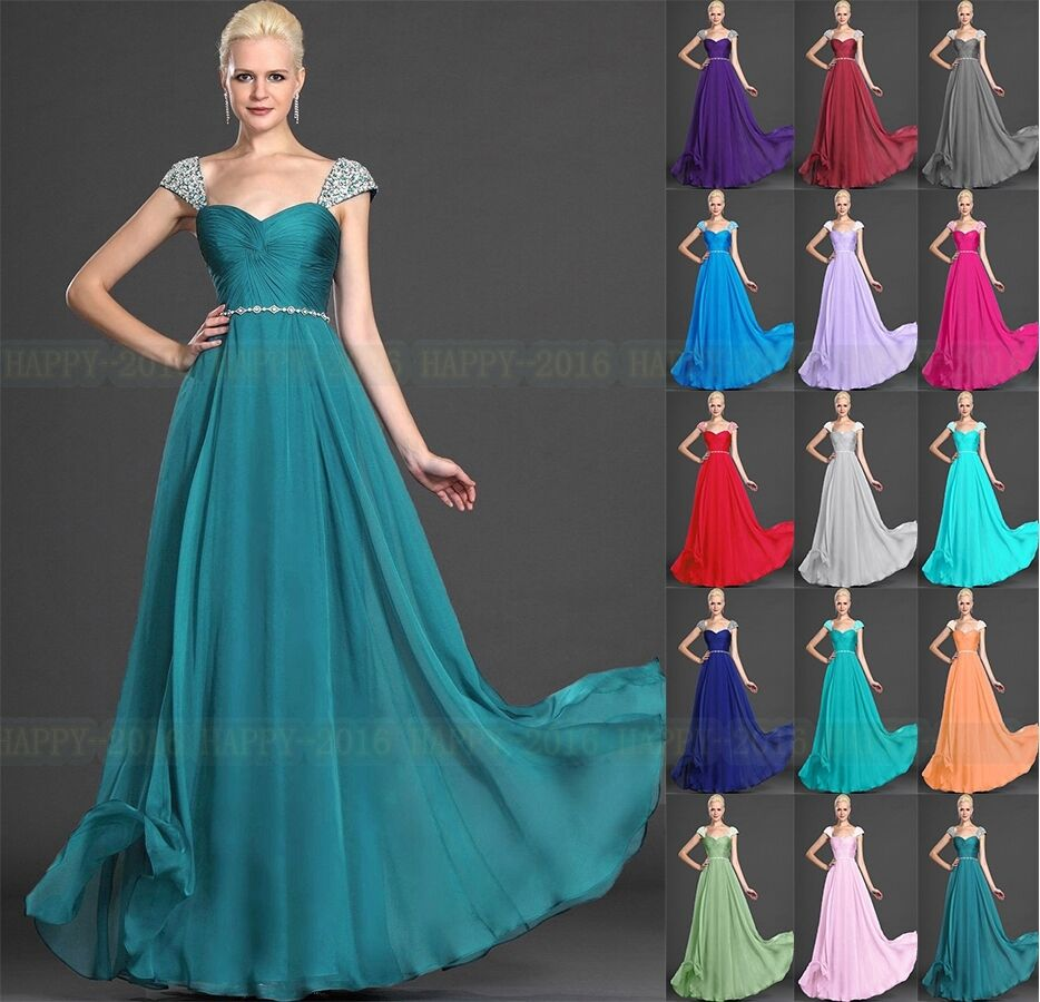 Cap sleeve floor length formal evening dress bridesmaid for Ebay wedding dresses size 18 uk