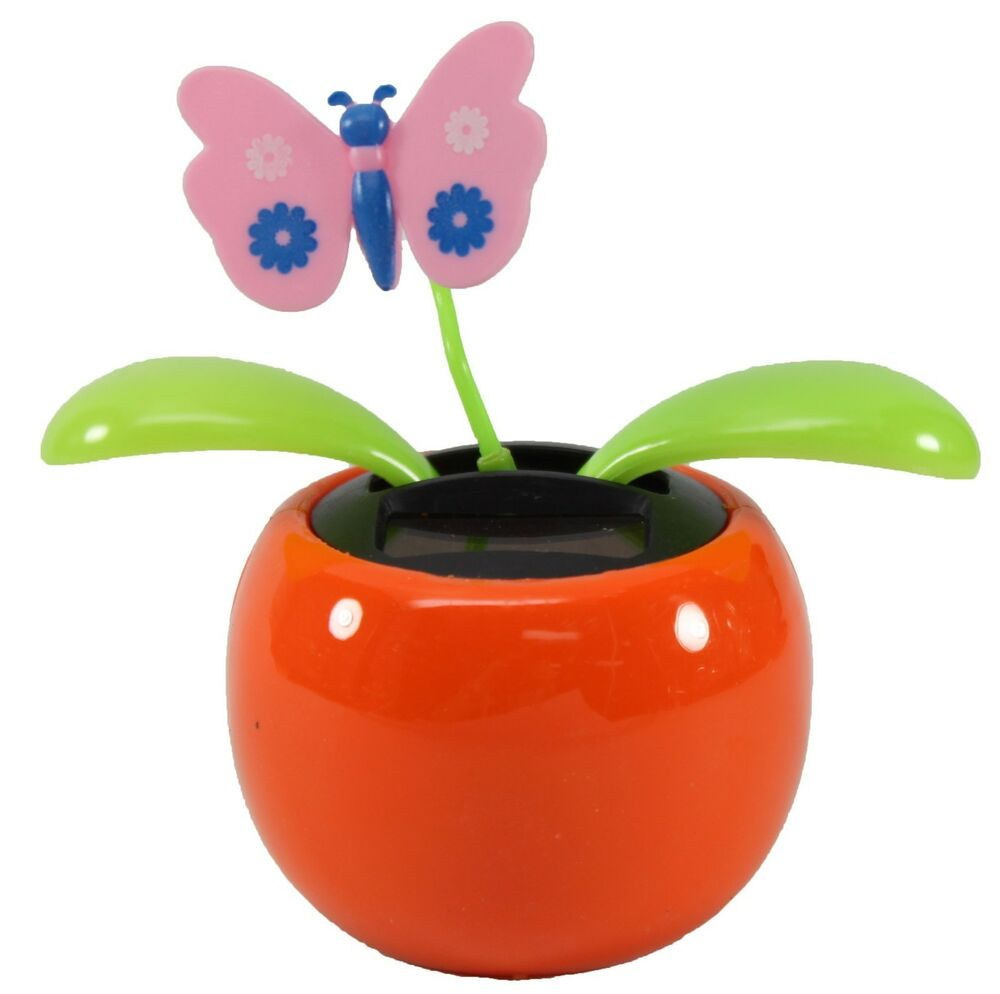 Solar Toys Valentine : Dancing butterfly assorted color pots solar toy moving