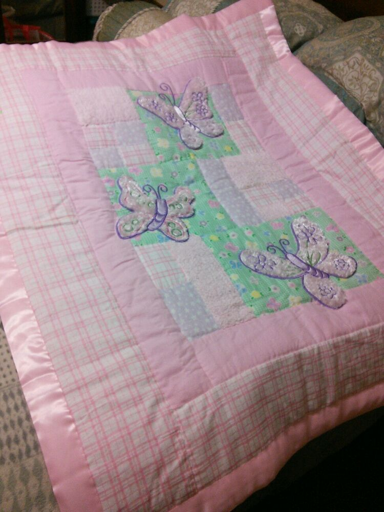 New Handmade Baby Quilt Soft Pink Butterfly Satin Binding
