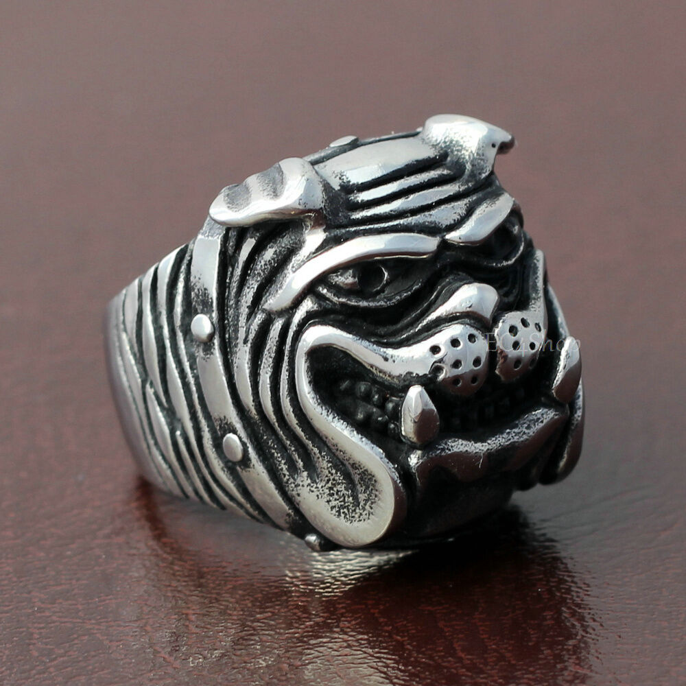 Men's Boy's Vintage Grinning Bulldog Pitbull Dog Pet Biker Ring ...