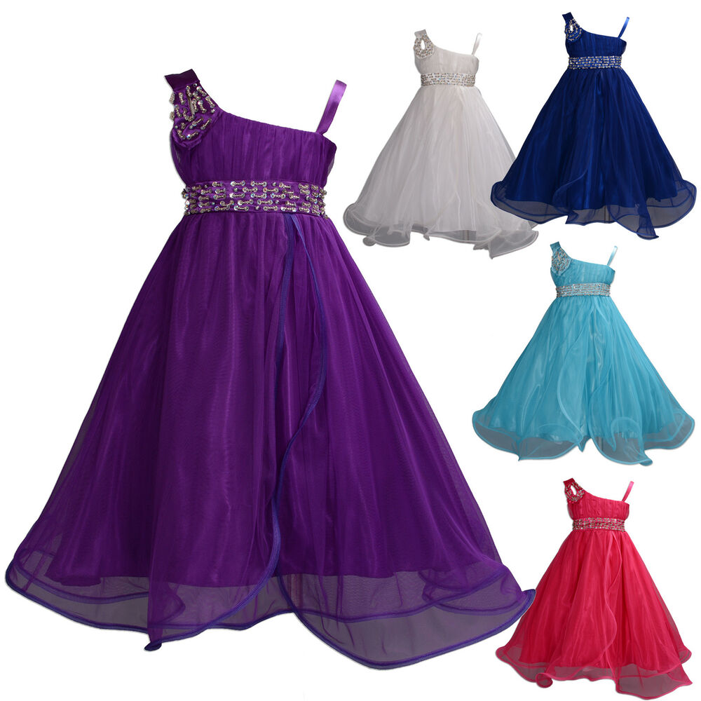 flower girl party bridesmaid pageant dress purple hotpink ivory blue 12m 11years ebay. Black Bedroom Furniture Sets. Home Design Ideas