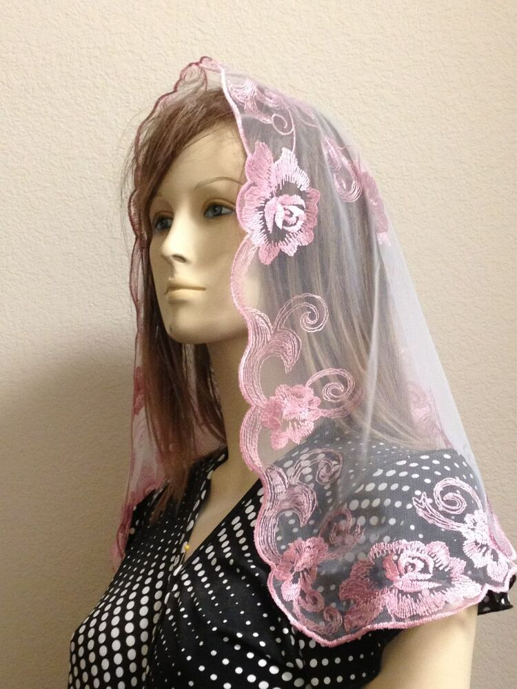 Pink Spanish style veils and mantilla church chapel scarf ...