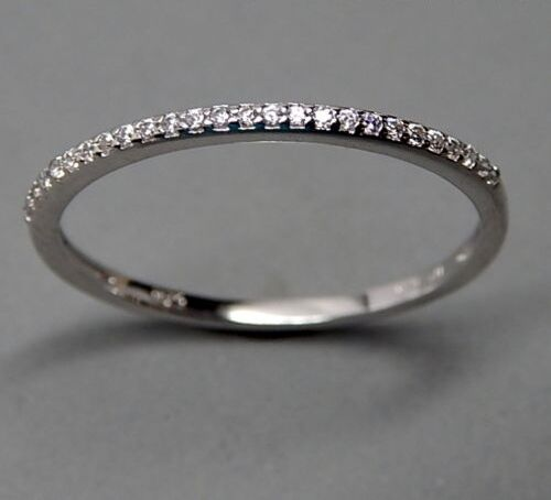 silver white aaa cz cubic zirconia thin wedding band stack ring ebay
